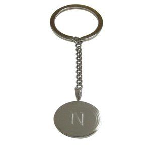 Etched Oval Letter N Monogram Pendant Keychain